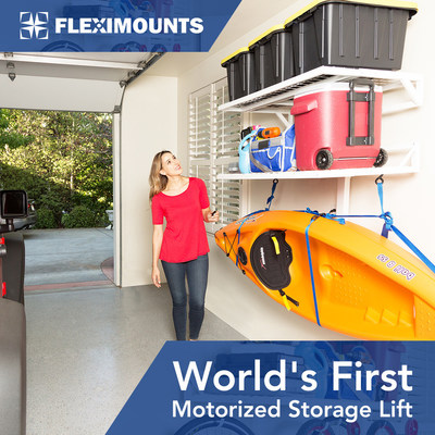 Fleximounts World's First Motorized Garage Wall Shelves E24