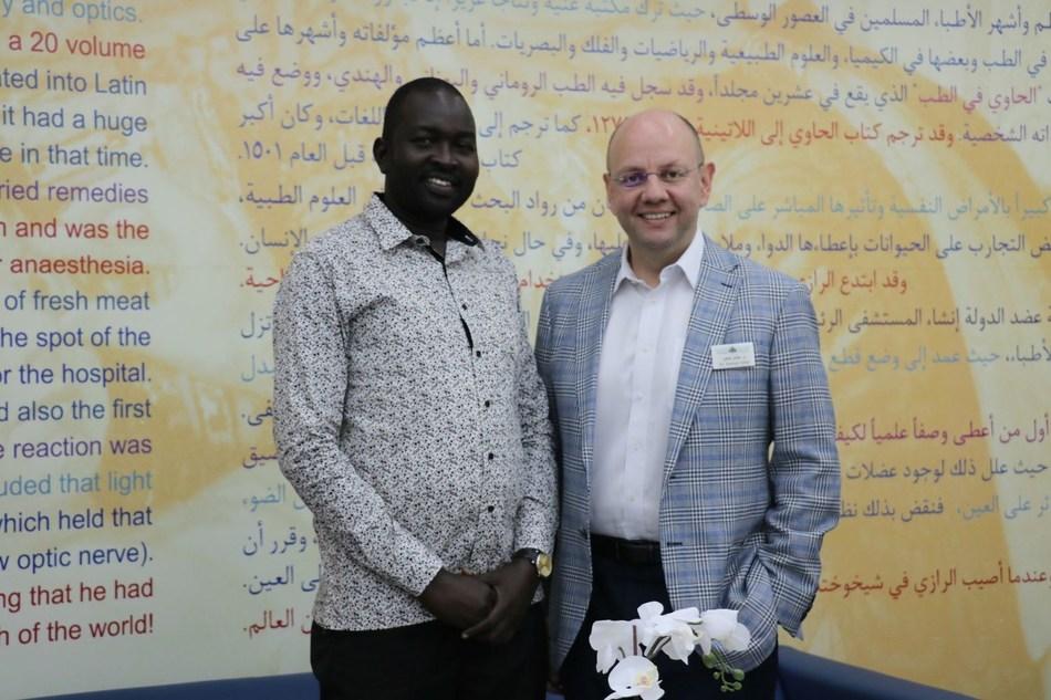 Moorfields patient Dut Jok Chalic Jok, with Dr. Ammar Safar, Medical Director, Consultant Vitreoretinal Surgeon, Moorfields Eye Hospital Dubai (PRNewsfoto/Moorfields Eye Hospital Dubai)