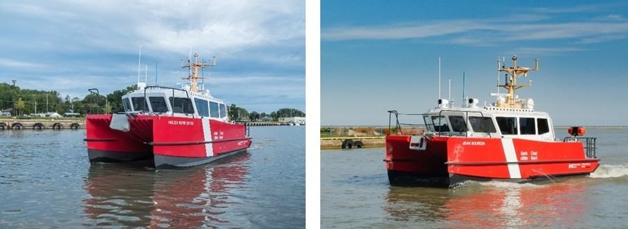 Les nouveaux navires, nommés le NGCC Jean Bourdon et le NGCC Helen Irene Battle, permettront d'effectuer les levés hydrographiques avec une meilleure précision, tout en réduisant le temps de collecte des données. (Groupe CNW/Pêches et Océans Canada)