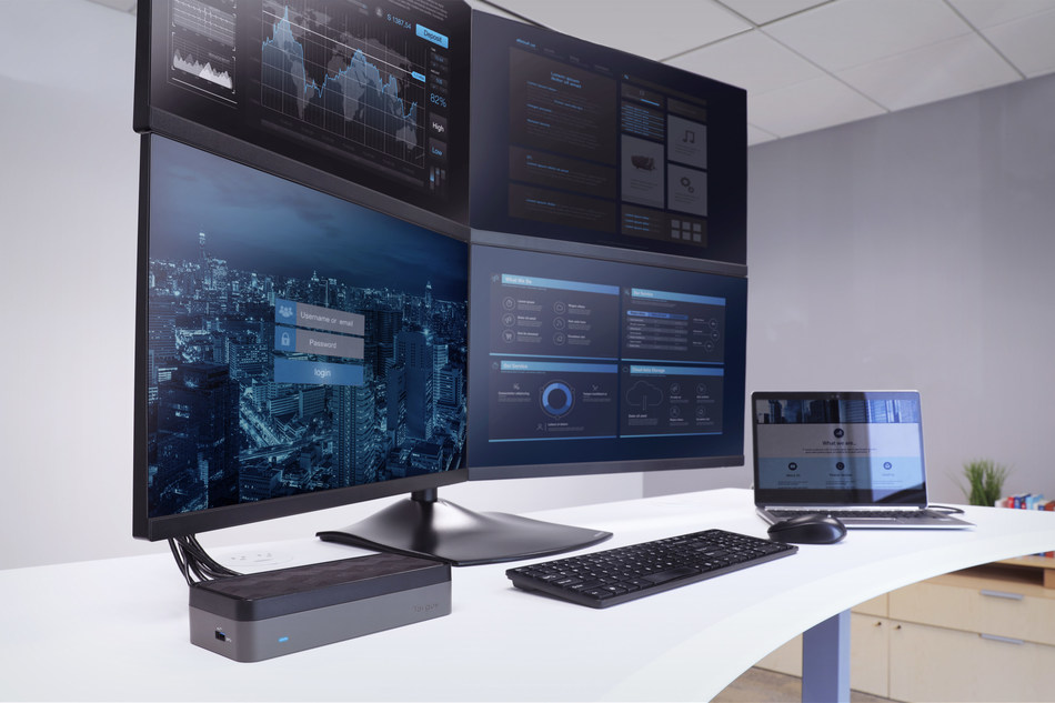 Meet the Targus USB-C™ Universal Quad HD Docking Station (DOCK520USZ), the world's first docking station to deliver four HD extended displays and now a CES® 2019 Innovation Awards Honoree.