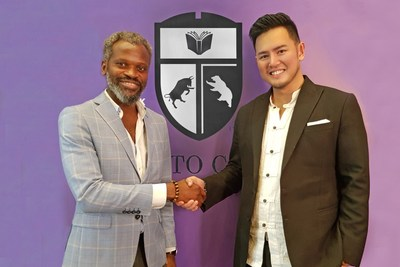John Kamara, Chevalier of the 'Ordre des Arts et Technologies', with Herbert Sim, Founder of Crypto Chain University.