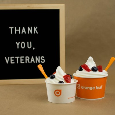 Free frozen yogurt for all retired and active duty military. See terms and conditions at orangeleafyogurt.com/promos/veterans-day.