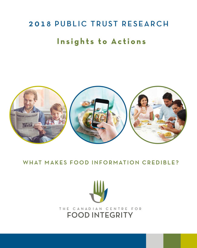 2018 Public Trust Research (CNW Group/Canadian Centre for Food Integrity)
