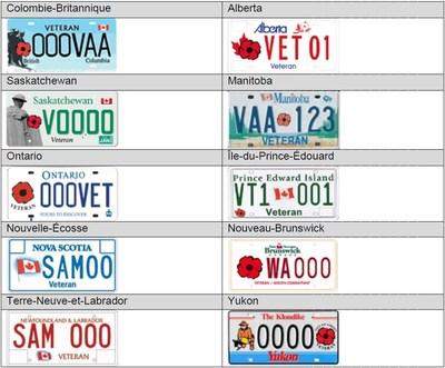 Plaques d'immatriculation pour les anciens combattants (vétérans). Visuel des autres provinces canadiennes et du Yukon (Groupe CNW/Cabinet du ministre des Transports)