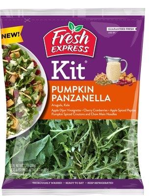 Enjoy the taste of fall with a delicious blend of arugula and baby kale, pumpkin spiced cornbread croutons and chow mein noodles, apple-spiced pepitas, sweet cherry flavored cranberries, and a delicious Apple Dijon vinaigrette dressing.