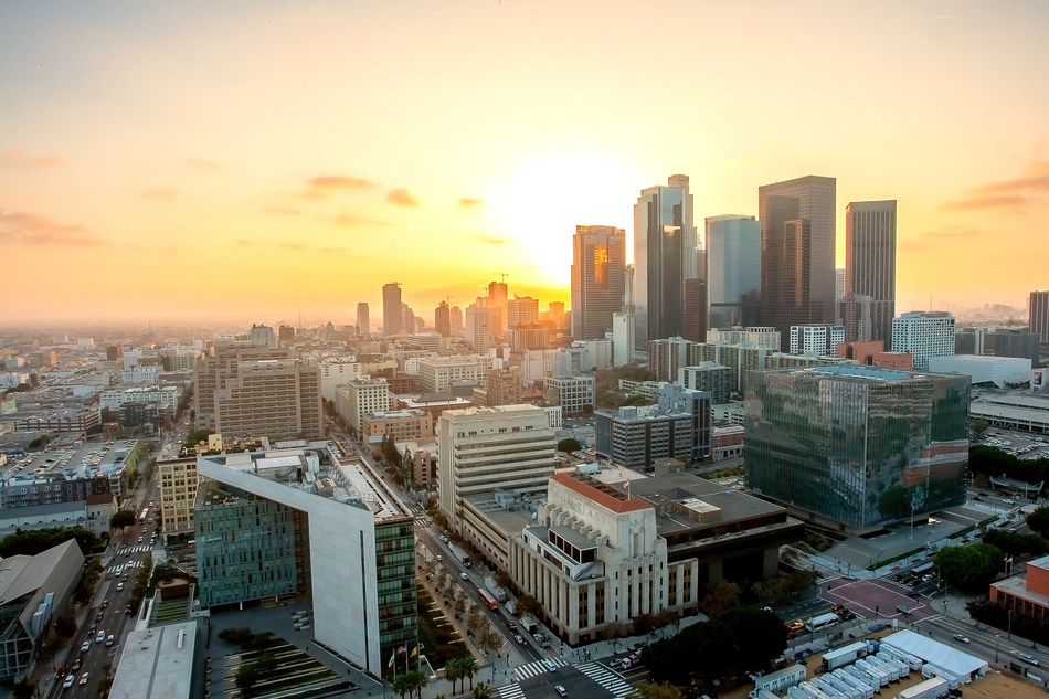 Sunset view from Los Angeles City Hall