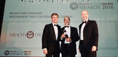 Laurence Black, Regional Director, Client Solutions, EMEA, collects Asiaciti Trust's award at the WealthBriefing GCC Region Awards 2018