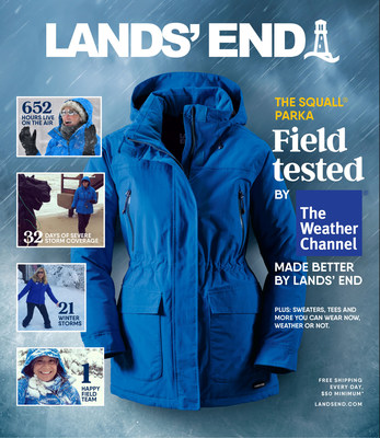Lands' End relaunched the Squall Parka in September 2018, after The Weather Channel meteorologists spent 652 hours field testing the outerwear through 21 winter storms, four major floods, 15 tropical storms and two major landfall hurricanes.
