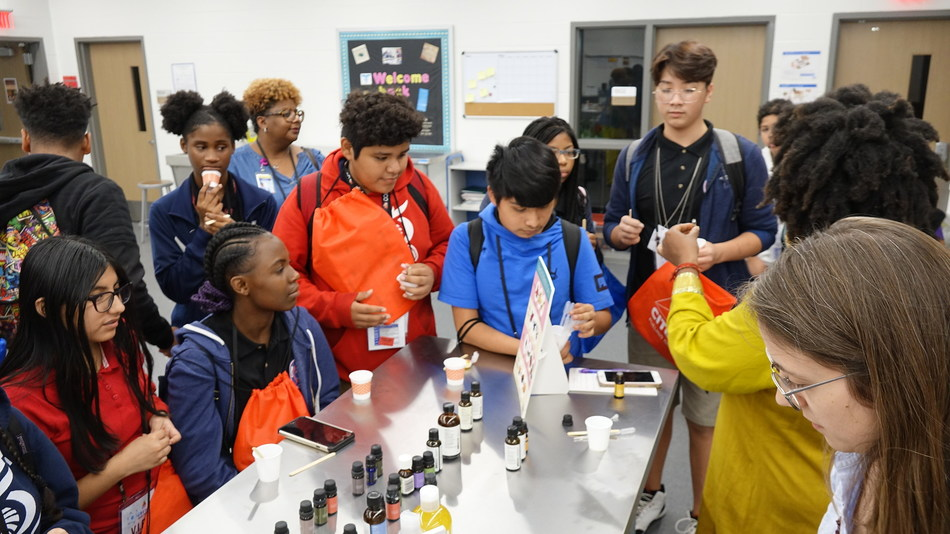 Students participating in CITGO STEM Day activities.