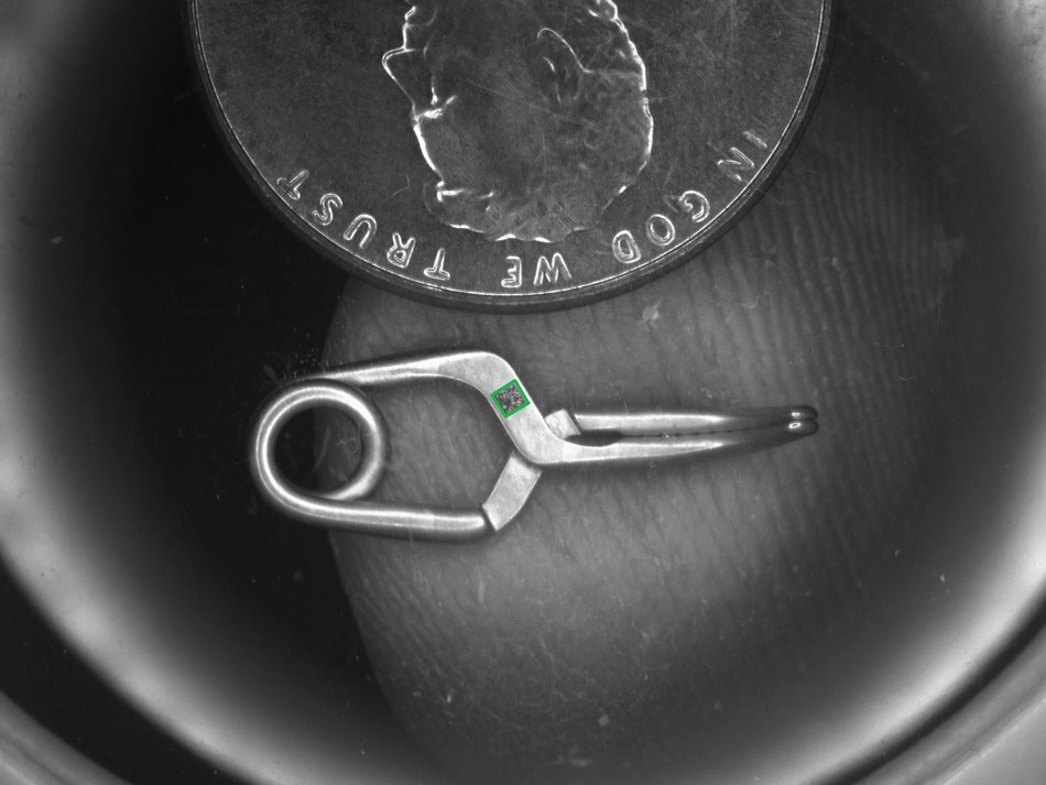GS1 Formatted Micro Data Matrix Code Laser Etched onto Aneurism Clip Used for Brain Surgery. (PRNewsfoto/GS1 Ireland)