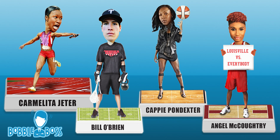 Full line of Officially licensed bobbleheads of Super Stars from the WNBA and the Olympics to the National Lacrosse League and the fastest woman alive designed and produced by BobbleBoss are available for pre-order at www.BobbleBoss.com