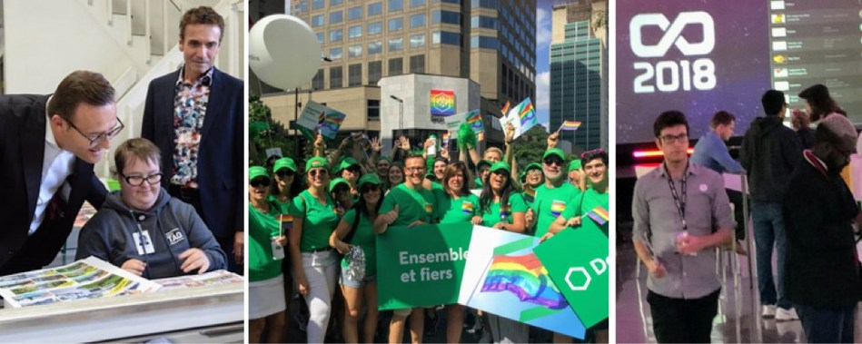 AN ACTIVE AND INVOLVED GROUP. Third-quarter achievements included our contribution to the growth of the social economy through our support of Groupe TAQ, our participation in the 2018 Montréal Pride week and the launch of the 4th edition of Coopérathon. (CNW Group/Desjardins Group)