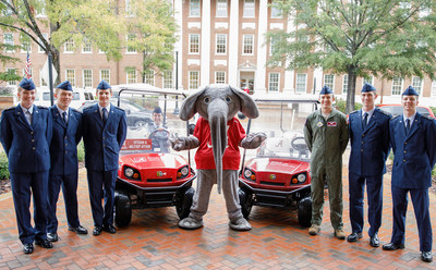 Wells Fargo sponsored handicapped-enabled custom Textron golf carts to benefit University of Alabama Veteran and Military Affairs department were delivered with a little help from Big Al.