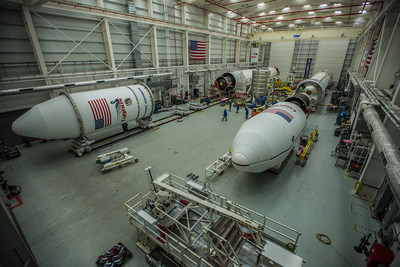 Northrop Grumman's Antares rocket for its 10th commercial resupply mission to the International Space Station is seen on the left Nov. 4, 2018, in the Horizontal Integration Facility at NASA's Wallops Flight Facility on Virginia's Eastern Shore. The CRS-10 Cygnus spacecraft is shown in the middle of the facility, and the Antares CRS-11 rocket scheduled to launch in spring 2019 is on the right.