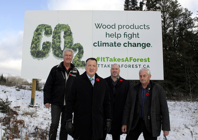 Forests Ontario. From left to right: Rob Keen, Minister Greg Rickford, Erik Holmstrom and Dave Canfield. Forests Ontario Unveils New It Takes A Forest billboard in Kenora (CNW Group/Forests Ontario)