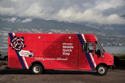 Purolator's new Mobile Quick Stop service – the first of its kind in Canada – operates as a convenient package pickup spot for customers, Monday to Friday from 3 to 8 p.m. Metro Vancouver locations: 3701 West Broadway, Vancouver; 11666 Steveston Hwy., Richmond; Coquitlam Centre and Big Bend Crossing, Burnaby (open Dec. 3). (CNW Group/Purolator Inc.)
