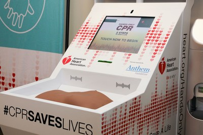 A Hands-Only CPR training kiosk supported by Anthem Foundation sits at Concourse A near gates A6-A7 at Cincinnati-Northern Kentucky International Airport.