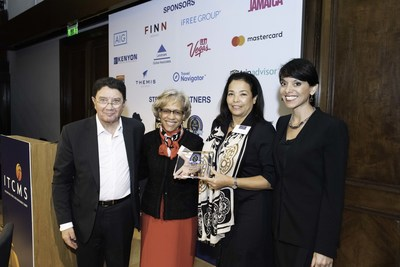 Above: Gail L. Moaney, APR, Founding Managing Partner and Director of the Global Travel & Lifestyle Division at Finn Partners (Middle Left) awarding the IIPT Champions in Challenge Award to Nan Marchand Beauvois, Senior Vice President, Membership and Industry Relations from U.S. Travel (Middle Right) during the International Travel Crisis Management Summit (ITCMS) in London on November 8. Ms. Beauvois accepted the award on behalf of Roger Dow, President & CEO of the U.S. Travel Association. Also joining in the photo are Dr. Taleb Rifai, Former Secretary General of the UNWTO and Chairman of the ITCMS (Left) and Anita Mendiratta, Lead Consultant of CNN International's T.A.S.K and the MC for the event (Right).
