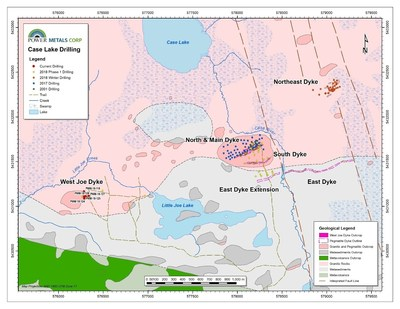 Figure 2 Case Lake Property showing the location of West Joe Dyke, Main Dyke, East and Northeast Dyke drilling. (CNW Group/POWER METALS CORP)