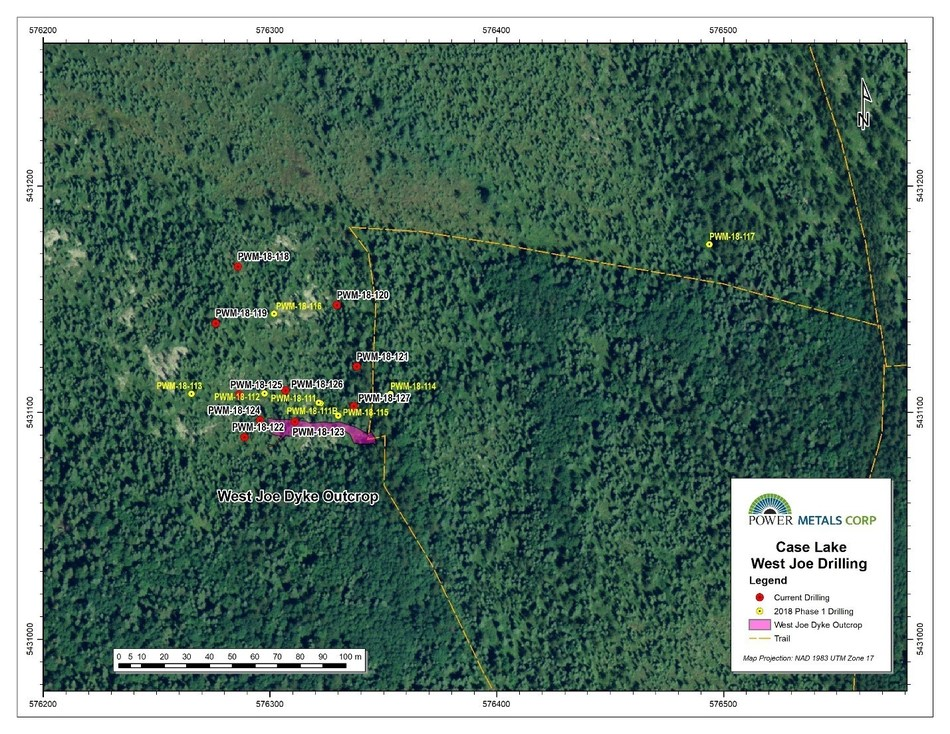 Figure 3 Location of drill hole collars for West Joe Dyke drill program, Case Lake Property. (CNW Group/POWER METALS CORP)