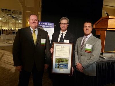 Jack McCrossin, Chris Newcomb and Mike Santee accept Tri-State Bird Rescue & Research's 2018 Corporate Wildlife Stewardship Award on behalf of CITGO.