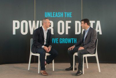 John Tavolieri, President, U.S. FMCG and Retail and Chief Technology and Operations Officer at Nielsen and Judson Althoff, Executive Vice President of Microsoft's Worldwide Commercial Business on stage at Nielsen's Data Drives Growth event.
