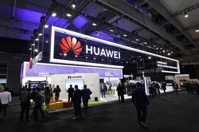 O Congresso Mundial e Exposição de Cidades Inteligentes (SCEWC – Smart City Expo World Congress) de 2018 é realizado em Barcelona, Espanha. O estande da Huawei é localizado acima. (PRNewsfoto/Huawei)