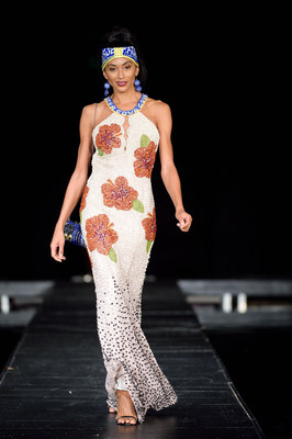 Winning design by Judith Cabrera of the Goya-inspired evening gown embroidered with a variety of Goya beans.