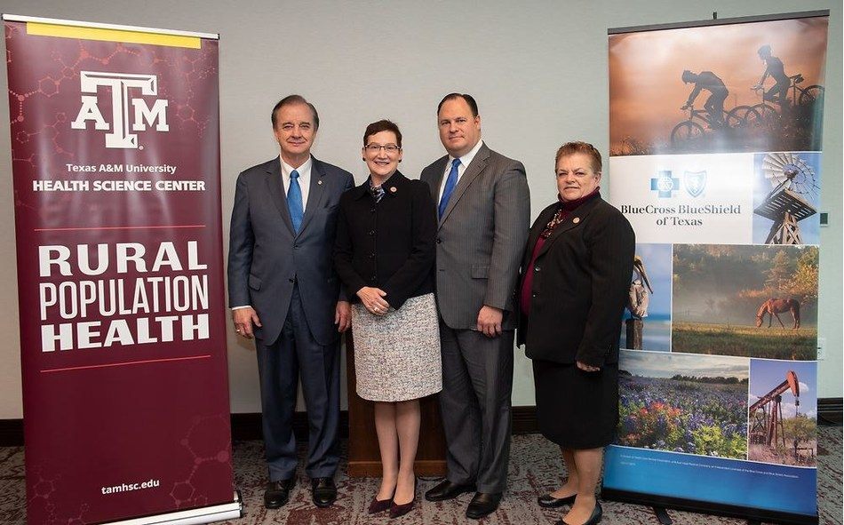 John Sharp, Chancellor, Texas A&M University System; Dr. Carrie Byington, Vice Chancellor for Health Services, Texas A&M University System; Dr. Dan McCoy, President, Blue Cross and Blue Shield of Texas; Dr. Nancy Dickey, Executive Director, A&M Rural and Community Health Institute