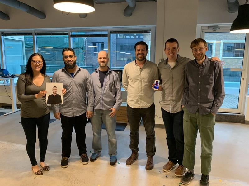 Lisa, James (headshot), Uzair, Jeffrey, Mike, Damian, and Jackson celebrating the promotions (CNW Group/Connected)
