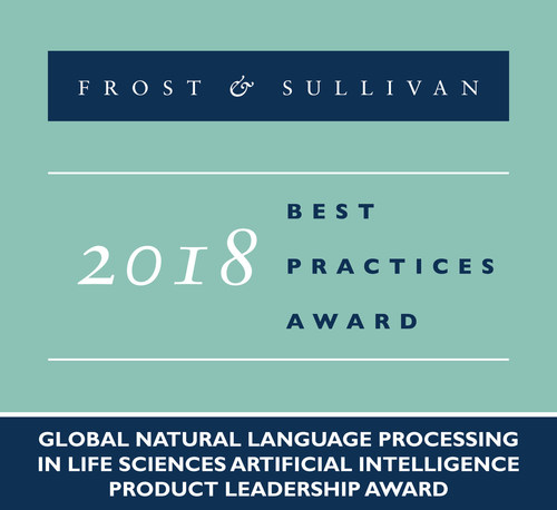 2018 Global Natural Language Processing in Life Sciences Artificial Intelligence Product Leadership Award (PRNewsfoto/Frost & Sullivan)