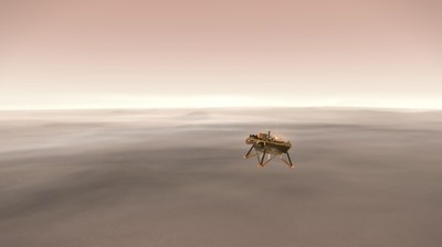 This illustration shows a simulated view of NASA's Interior Exploration using Seismic Investigations, Geodesy and Heat Transport (InSight) lander firing retrorockets to slow down as it descends toward the surface of Mars.