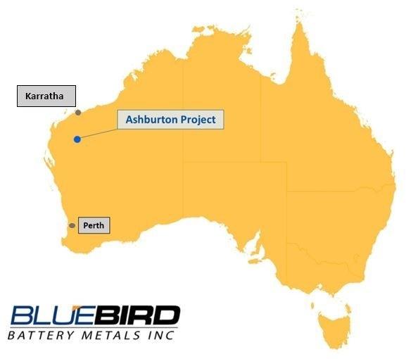 Figure 1 - Ashburton Project Location Map (CNW Group/Bluebird Battery Metals)