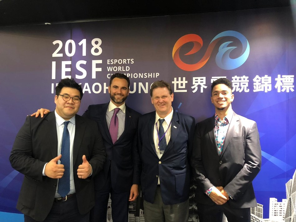(from left to right): Leopold Chung (General Secretary, IeSF), Vlad Marinescu (President, USeF), Colin Webster (President, IeSF), Lance Mudd (Sport Director, USeF)
