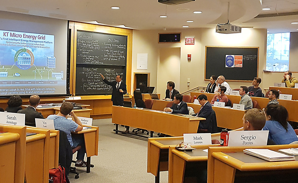 KT Chairman Hwang Chang-Gyu is photographed during a lecture to students at Harvard Business School in Cambridge, Massachusetts on October 26.