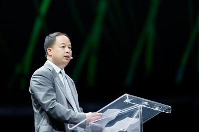 Yu Jun, presidente da GAC Motor, proferiu um discurso na Move'On, encontro de mobilidade sustentável global da Michelin (PRNewsfoto/GAC Motor)