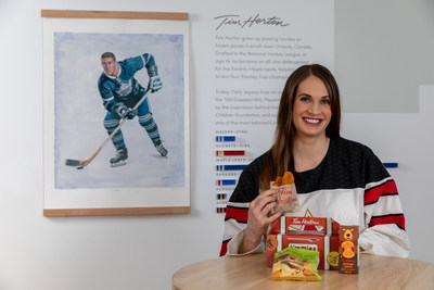 Tim Hortons has partnered with Team Canada hockey player Meaghan Mikkelson to launch its new kids menu– with Meaghan being a proud hockey mom and ambassador for the Timmies Minis™ program. (CNW Group/Tim Hortons)