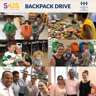TemPositions Director of Strategic Accounts, Roger Oliver, along with Rachel Kelly and Dominique Scarinci, distribute backpacks to children served by Services for the UnderServed.