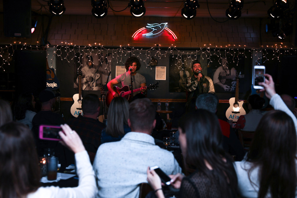 "Award-winning country music duo Dan + Shay perform a special acoustic set, including their new song, ""Speechless,"" sponsored by Aflac and PEOPLE at The Bluebird Café in Nashville, Tennessee, on Nov. 13, 2018. Photo Credit: Anna Webber"