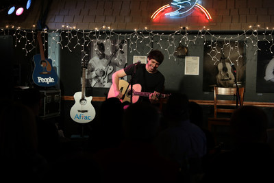 Rising country music star Morgan Evans opens a private show sponsored by Aflac and PEOPLE at The Bluebird Café in Nashville, Tennessee, on Nov. 13, 2018, to celebrate the upcoming CMA Awards. Photo Credit: Anna Webber