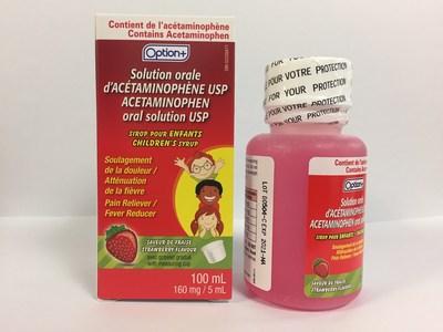 Solution orale d'acétaminophène (160 mg/5 ml) à saveur de fraise pour les enfants, de marque Option+ (lot B0504-C) (Groupe CNW/Santé Canada)
