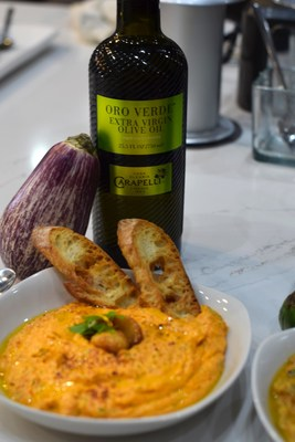 Holiday Eggplant Roasted Pepper Dip featuring Carapelli Oro Verde Olive Oil