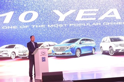 Yu Jun, President of GAC Motor delivers a speech at the opening ceremony of GAC Motor's Showroom in Saudi Arabia