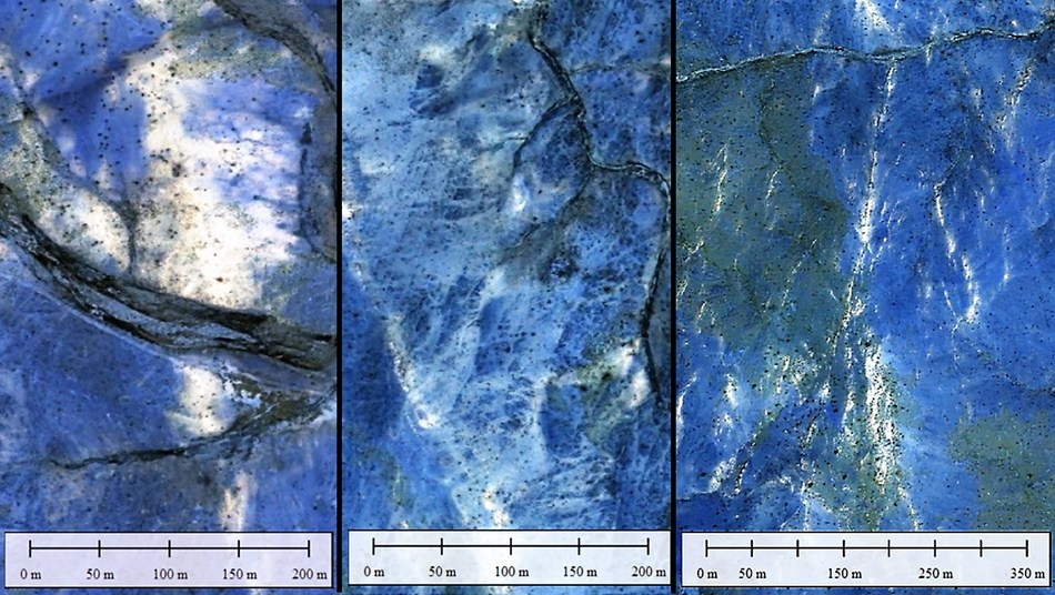 Figure 5. Filtered snapshots of selected areas of Figure 3 (above) showing details of quartz structures, and alteration minerals dispersed on surface. (CNW Group/Pacton Gold Inc.)