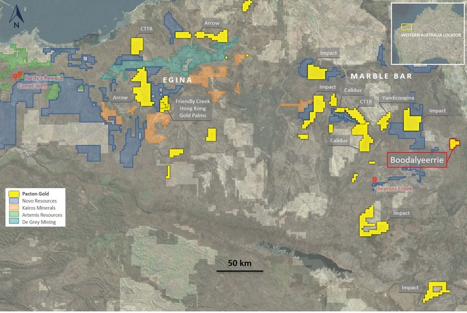 Figure 1.  Location of Pacton Pilbara holdings, showing Boodalyerrie tenement. (CNW Group/Pacton Gold Inc.)
