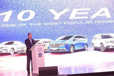 M. Yu Jun, président de GAC Motor prononce un discours lors de la cérémonie d'ouverture de la salle de montre de GAC Motor en Arabie saoudite. (PRNewsfoto/GAC Motor)