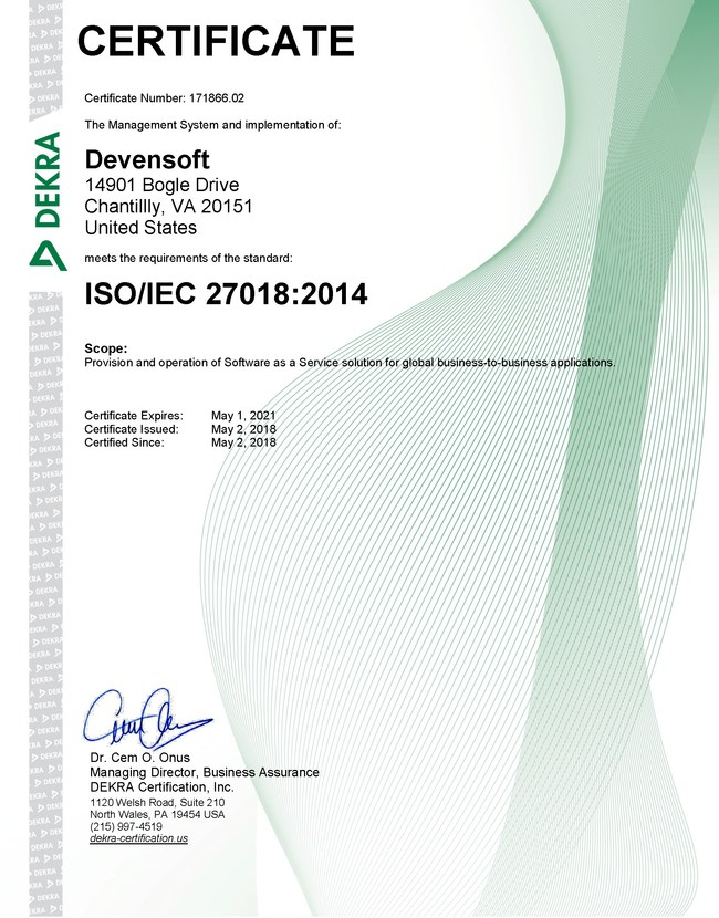 Devensoft ISO 27018 certificate