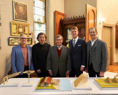 From left to right: Dmitry Efimov (President and CEO, Kentucky Owl, LLC), Shigeru Ban (Founder, Shigeru Ban Architects), Dick Heston (Mayor of Bardstown), Dixon Dedman (Master Blender, Kentucky Owl), and Dean Maltz (Managing Partner of Shigeru Ban Architects). (PRNewsfoto/Stoli Group)