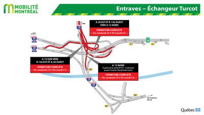 Entraves - Échangeur Turcot (Groupe CNW/Ministère des Transports)