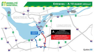 Entraves - A-10 ouest (détour) (Groupe CNW/Ministère des Transports)